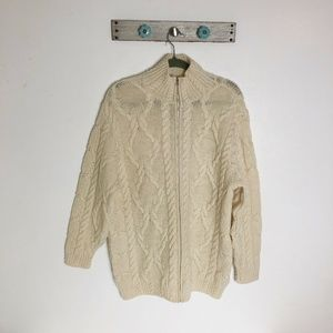 VTG Edward Bryan M Cream Cable Knit Cardigan Zip